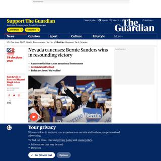 Nevada caucuses- Bernie Sanders wins in resounding victory - US news - The Guardian