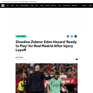 Zinedine Zidane- Eden Hazard 'Ready to Play' for Real Madrid After Injury Layoff - Bleacher Report - Latest News, Videos and Hig