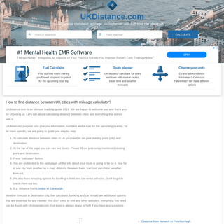 Distance calculator, mileage, fuel cost calculator UK