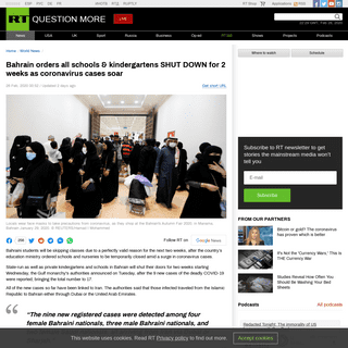 Bahrain orders all schools & kindergartens SHUT DOWN for 2 weeks as coronavirus cases soar — RT World News