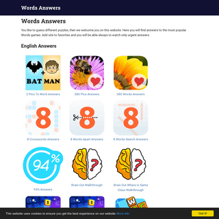 Answers for Words Games