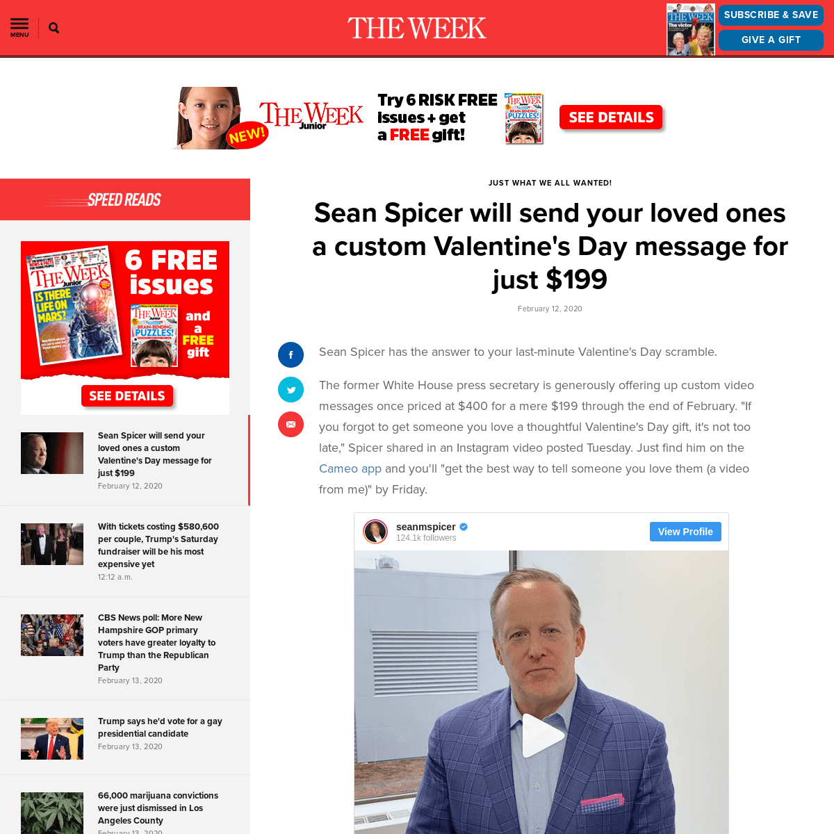 Sean Spicer will send your loved ones a custom Valentine's Day message for just $199