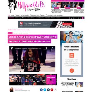 Chaka Khan Sings National Anthem At NBA All-Star Game 2020 – Hollywood Life