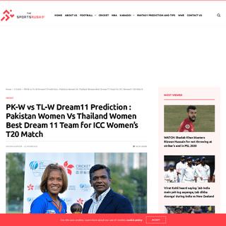 PK-W vs TL-W Dream11 Prediction - Pakistan Women Vs Thailand Women Best Dream 11 Team for ICC Women's T20 Match - The SportsRu