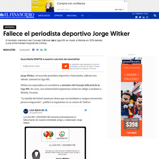 Fallece el periodista deportivo Jorge Witker