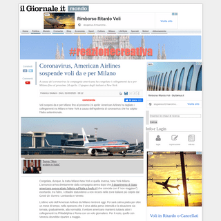 Coronavirus, American Airlines sospende voli da e per Milano - IlGiornale.it