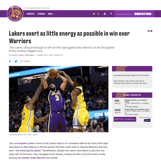 Lakers vs. Warriors Final Score- L.A. survives low-effort performance - Silver Screen and Roll