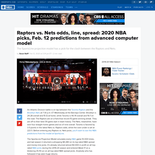 ArchiveBay.com - www.cbssports.com/nba/news/raptors-vs-nets-odds-line-spread-2020-nba-picks-feb-12-predictions-from-advanced-computer-model/ - Raptors vs. Nets odds, line, spread- 2020 NBA picks, Feb. 12 predictions from advanced computer model - CBSSports.com