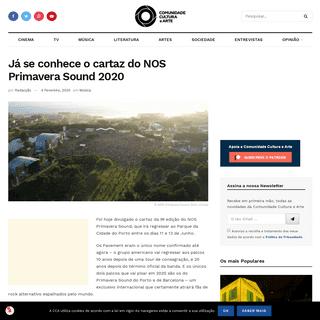 Já se conhece o cartaz do NOS Primavera Sound 2020 – Comunidade Cultura e Arte