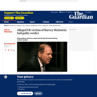 Alleged UK victims of Harvey Weinstein hail guilty verdict - World news - The Guardian