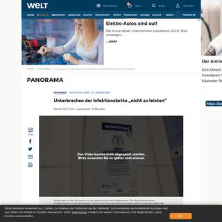 """Coronavirus Deutschland- Unterbrechen der Infektionskette """"nicht zu leisten"""" - WELT"""