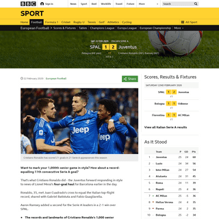 ArchiveBay.com - www.bbc.co.uk/sport/football/51598794 - SPAL 1-2 Juventus- Cristiano Ronaldo scores in win to equal Serie A record in 1,000th game - BBC Sport