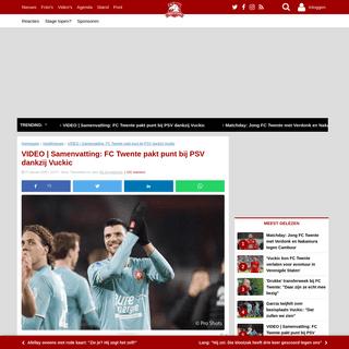 VIDEO - Samenvatting- FC Twente pakt punt bij PSV dankzij Vuckic - Twentefans.nl