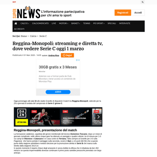 ArchiveBay.com - news.superscommesse.it/calcio/serie-c/2020/03/reggina-monopoli-streaming-e-diretta-tv-dove-vedere-serie-c-oggi-1-marzo-392882/ - Reggina-Monopoli- streaming e diretta tv, dove vedere Serie C oggi 1 marzo - SuperNews