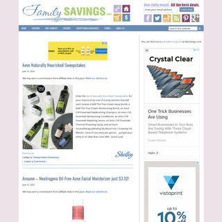 FamilySavings - Free Samples, Coupons, and Sweepstakes