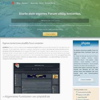 Eigenes kostenloses phpBB3 Forum erstellen × phpbb8.de