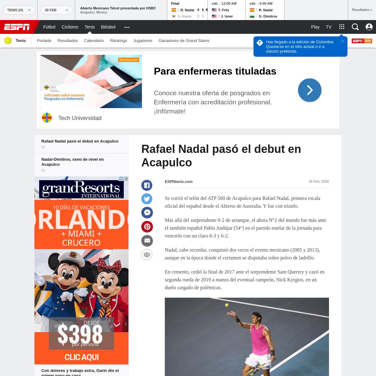 Rafael Nadal pasó el debut en Acapulco