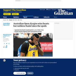 Australian Open- Kyrgios wins hearts but ruthless Nadal takes the spoils - Sport - The Guardian