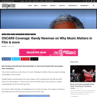 ArchiveBay.com - americansongwriter.com/randy-newman-on-the-oscars/paul-zollo/ - OSCARS Coverage- Randy Newman on Why Music Matters in Film & more « American Songwriter