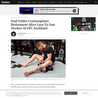 Paul Felder Contemplates Retirement After Loss To Dan Hooker At UFC Auckland