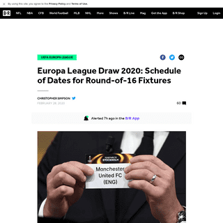 Europa League Draw 2020- Schedule of Dates for Round-of-16 Fixtures - Bleacher Report - Latest News, Videos and Highlights