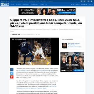 Clippers vs. Timberwolves odds, line- 2020 NBA picks, Feb. 8 predictions from computer model on 34-18 run - CBSSports.com