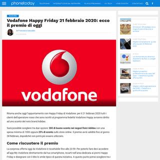 Vodafone Happy Friday 21 febbraio 2020- ecco il premio di oggi
