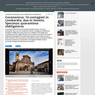 Coronavirus- 14 contagiati in Lombardia, due in Veneto. Speranza- quarantena obbligatoria - Rai News