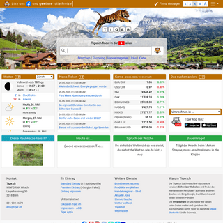 TIGER.ch, die Schweizer Startseite mit Suchmaschine