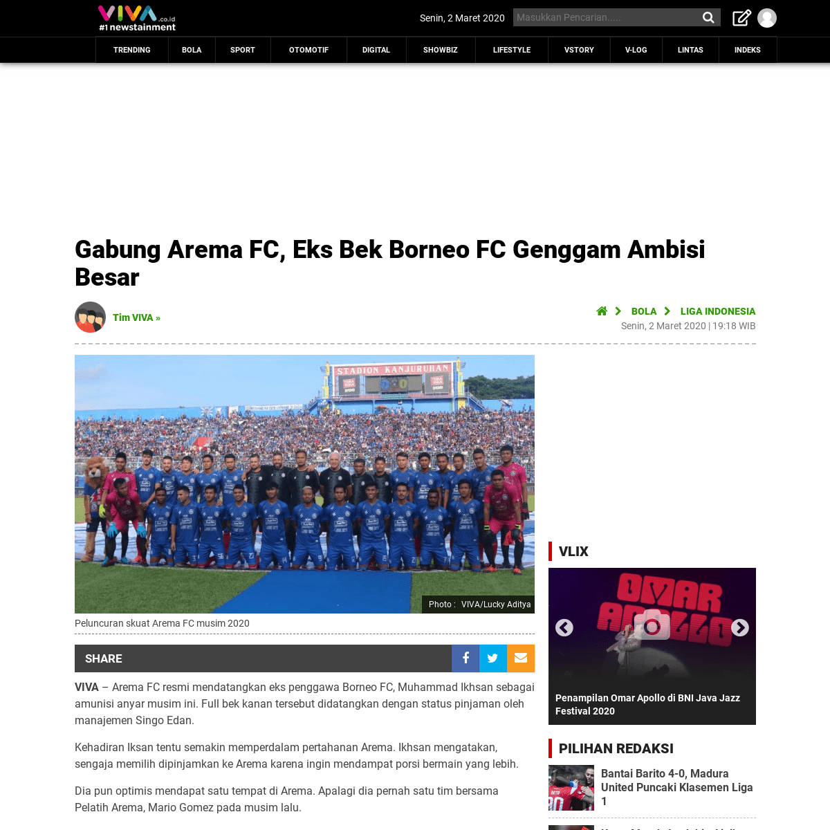 Gabung Arema FC, Eks Bek Borneo FC Genggam Ambisi Besar - VIVA