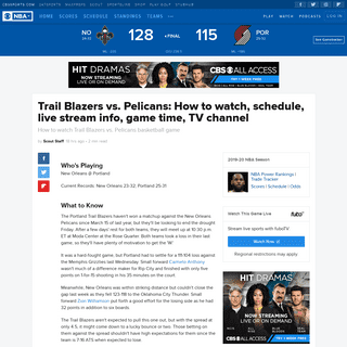 ArchiveBay.com - www.cbssports.com/nba/news/trail-blazers-vs-pelicans-how-to-watch-schedule-live-stream-info-game-time-tv-channel/ - Trail Blazers vs. Pelicans- How to watch, schedule, live stream info, game time, TV channel - CBSSports.com