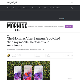 ArchiveBay.com - www.engadget.com/2020/02/20/samsung-find-my-mobile-1-morning-after/ - The Morning After- Samsung's botched 'find my mobile' alert went out worldwide - Engadget