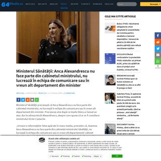 Ministerul Sănătății- Anca Alexandrescu nu face parte din cabinetul ministrului, nu lucrează în echipa de comunicare sau �
