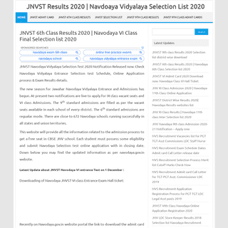 JNVST 6th Class Results 2020 - Navodaya VI Class Final Selection list 2020