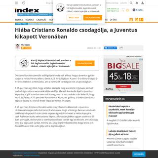 Index - Futball - Futball - Hiába Cristiano Ronaldo csodagólja, a Juventus kikapott Veronában