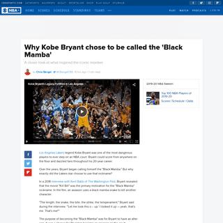 Why Kobe Bryant chose to be called the 'Black Mamba' - CBSSports.com