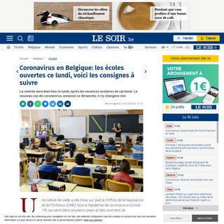 Coronavirus en Belgique- les écoles ouvertes ce lundi, voici les consignes à suivre - Le Soir
