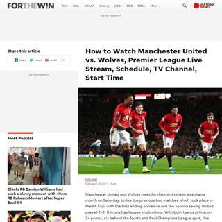 Manchester United vs. Wolves Live Stream- TV Channel, How to Watch