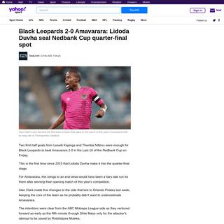 Black Leopards 2-0 Amavarara- Lidoda Duvha seal Nedbank Cup quarter-final spot