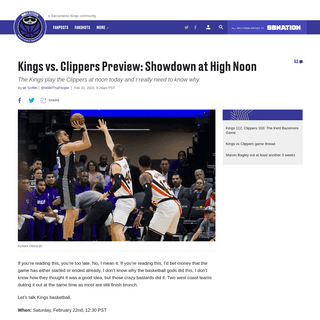 Kings vs. Clippers Preview- Showdown at High Noon - Sactown Royalty