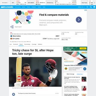ArchiveBay.com - www.espncricinfo.com/series/19745/report/1213871/sri-lanka-vs-west-indies-1st-odi-west-indies-sri-lanka-2019-20 - Recent Match Report - Sri Lanka vs West Indies 1st ODI 2020 - ESPNcricinfo.com
