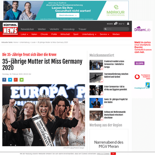 ArchiveBay.com - www.suedtirolnews.it/unterhaltung/leute/35-jaehrige-mutter-ist-miss-germany-2020 - 35-jährige Mutter ist Miss Germany 2020 – Südtirol News