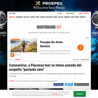 Coronavirus, a Piacenza test su intera azienda del sospetto -paziente zero- - Cronaca - quotidiano.net