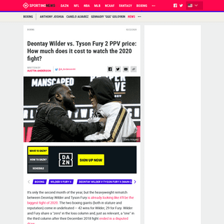 Deontay Wilder vs. Tyson Fury 2 PPV price- How much does it cost to watch the 2020 fight- - Sporting News