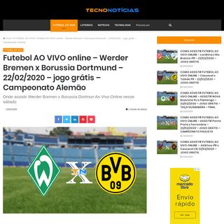 Futebol AO VIVO online – Werder Bremen x Borussia Dortmund – 22-02-2020 – jogo grátis – Campeonato Alemão – Tecno No