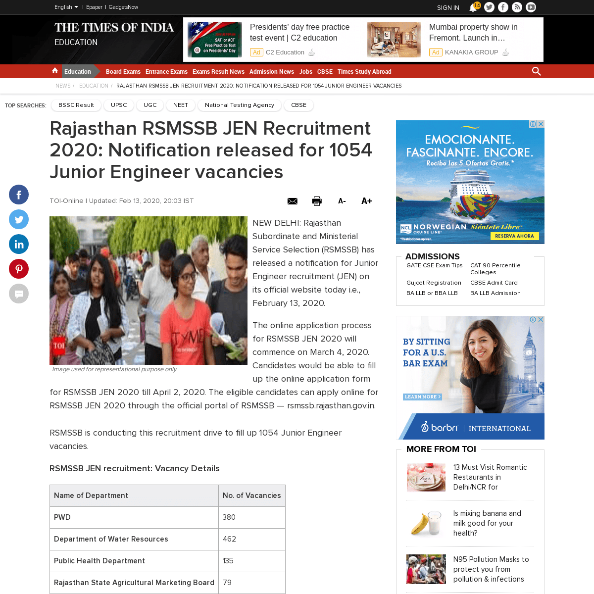 Rajasthan RSMSSB JEN Recruitment 2020- Notification released for 1054 Junior Engineer vacancies - Times of India