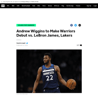 Andrew Wiggins to Make Warriors Debut vs. LeBron James, Lakers - Bleacher Report - Latest News, Videos and Highlights