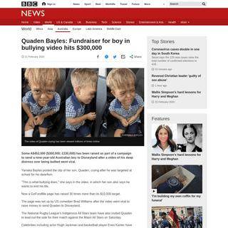 ArchiveBay.com - www.bbc.com/news/world-australia-51590984 - Quaden Bayles- Fundraiser for boy in bullying video hits $300,000 - BBC News