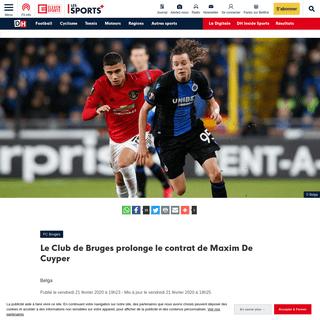 Le Club de Bruges prolonge le contrat de Maxim De Cuyper - DH Les Sports+