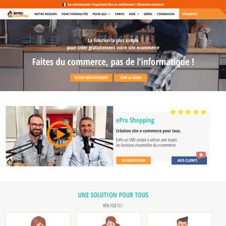 ePro Shopping - L'e-commerce pour tous ! - Démarrez votre site gratuitement